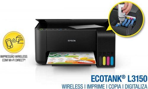 Multifuncional Epson EcoTank L3150 - Tanque de Tinta Colorida, Wi-Fi Direct