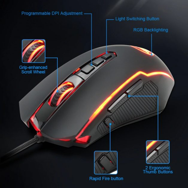 Mouse Gamer Gaming Redragon Ranger M910 12400dpi