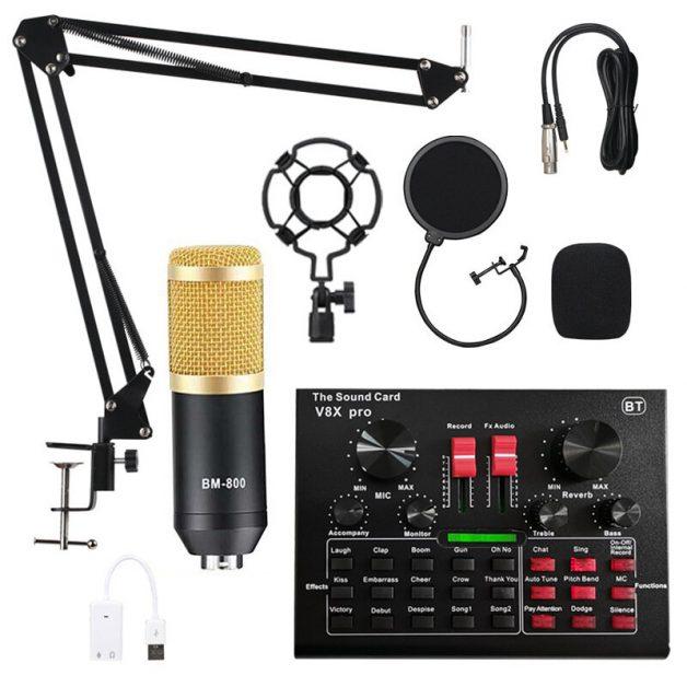 BM800 Condenser Microphone + V8X Pro Sound Card KIT