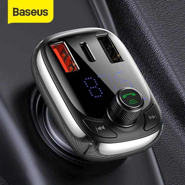 Transmissor Bluetooth 5.0 Baseus FM Para Carro MP3 Carregador Sem Fio